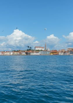 Picturesque old town Piran - Slovenian adriatic coast as seen from the boat.